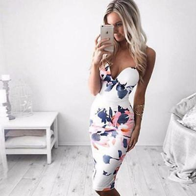 Women's Summer Floral Bandage Bodycon Evening Sexy Party Cocktail Mini Dress LG