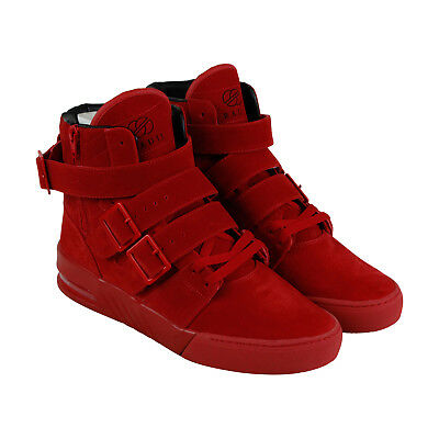 Radii Straight Jacket Plus Mens Red Suede High Top Lace Up Sneakers Shoes