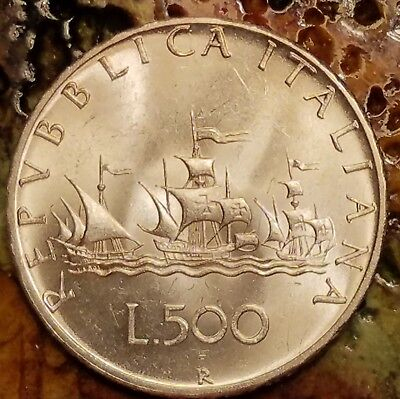 Italy 500 Lire, 1967.  Immaculate AU coin, featuring Columbus's ships