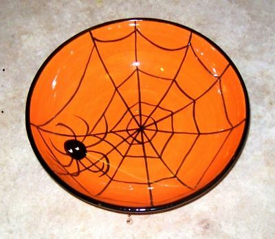 """Spider Web Candy Dish Ceramic 9""""  round by 3"""" deep Perfect 4 Halloween Candy!"""