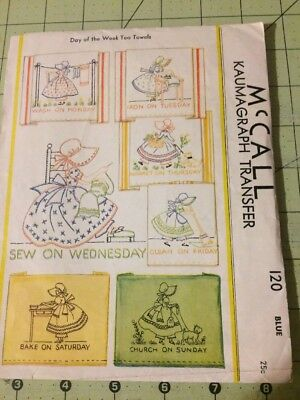 Vintage 1933 McCALL #120 Kaumagraph Transfer Pattern Day Of Week Towels Free S&H