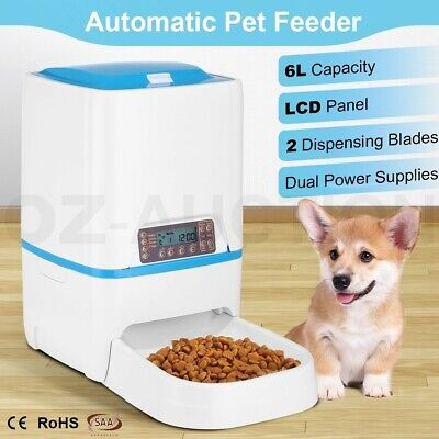 6L Automatic Dog Feeder Timed Auto Pet Cat Food Dispenser w/ Voice Recorder LCD