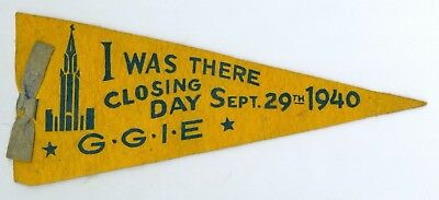 Sept 29, 1940 Closing Day at Golden Gate Inter Expo GGIE Felt Banner, 9 Inches
