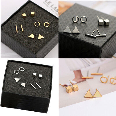 4Pairs/Set Gold Silver Geometric Triangle Earrings Tiny Circle T Bar Earring New