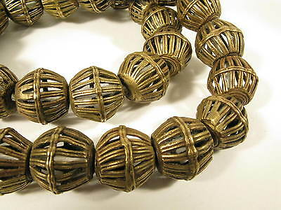 Strang Messingperlen 20mm BR9 Gelbguß Ghana Brass Beads Ashanti Akan Afrozip