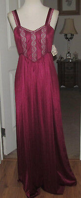 Vtg. Oss Deena Dark Burgundy Nylon Long Nightgown  Sz.s