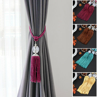 2x Curtain Rope Tie Backs Large Prism Ball Tieback Holdback with Hanging Tassel