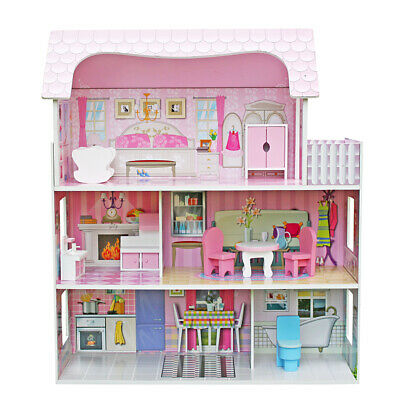 Wooden Kids Doll House With Miniature Furniture Fits Barbie Dollhouse