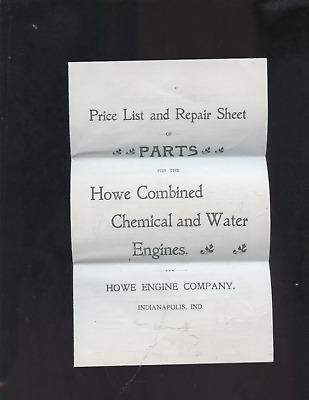 ca 1900 Howe Engine Company fire engine parts catalog,firefighting,Indianapolis