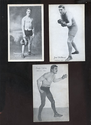 3 1921 boxing, wrestling postcards, sports, Selva,Willard, Walsh