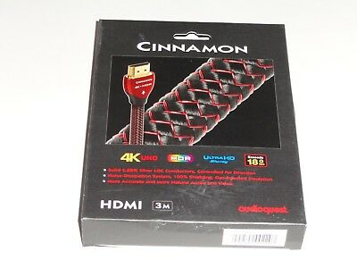 NEW AudioQuest Cinnamon 3M HDMI Digial Audio/Video Cable with Ethernet HDMCIN03B