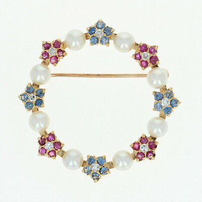 Cultured Pearl & Multi-Gemstone Floral Wreath Brooch - 18k Gold Sapphire 1.00ctw
