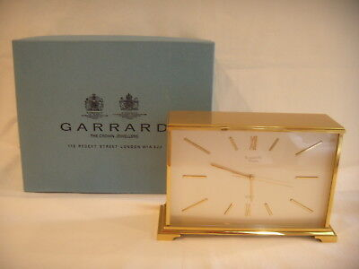 Retro 1980's Swiss Mantle Clock, Brass Case,  Retailed By Garrard & Co London