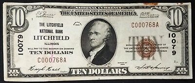 1929 $10 National Currency, The Litchfield National Bank of Litchfield, Illinois