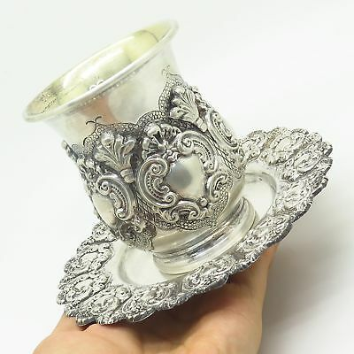 Vintage Signed 925 Sterling Silver Ornate Design Kiddush Set Of Cup & Tray