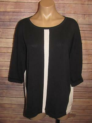Magaschoni Black White 3/4 Sleeve Knit Top Size Large Womens L Cotton High Low