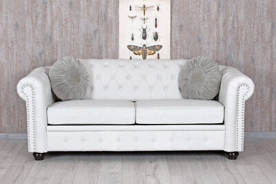 Chesterfield Sofa Weiss Clubsofa Couch Eco Leder Englisches Sofa