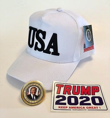 Donald Trump USA..45...Hat..Make America Great Again Cap..MAGA  White + 2 Decals