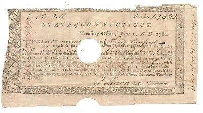 Original 1780 Document - State of Connecticut Treasury Office - Rev. War Soldier