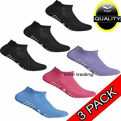 3 pairs Ladies OR MENS Sport Gym Yoga Non Slip Gripper Sole Trainer Liner Socks
