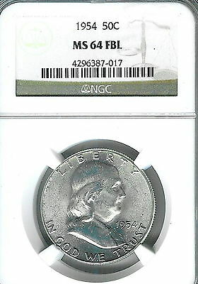 1954 Franklin Half : NGC MS64FBL Blazing White