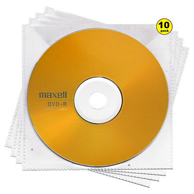 10x Maxell DVD-R Gold Top 16x 4.7GB Blank Media Discs Branded In Sleeves New