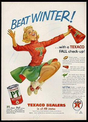 1955 cheerleader art Texaco PT anti freeze vintage print ad
