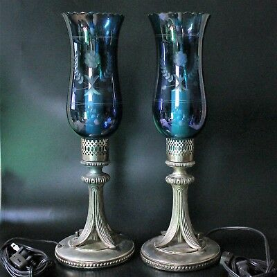 Pair Of Beautiful Vintage Silver Plated Blue Etched Glass Boudoir Table Lamps