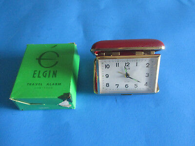 Elgin Travel Alarm Wind Up Clock Red Case W/Box Works Sharon Pa Westinghouse