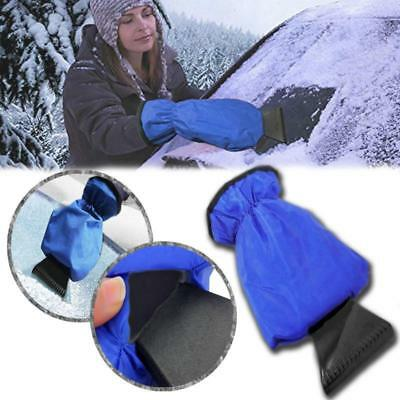 1pc Car Snow Ice Shovel Scraper With Lined Glove Removal Clean Tool Blue Red - S