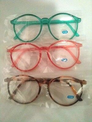 1980 Sally Jessy Raphael style Vtg Full Magnifying + 125  3 colors set of 3