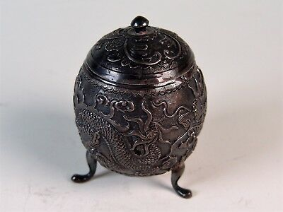 Chinese 19th Century Dragon Design Export Silver Mustard Pot w/ Shau Character.