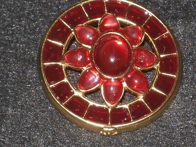 Chanel 1 Metal Cc Logo Raspberry  Glass Red Enamel Button  25 Mm /over 1''
