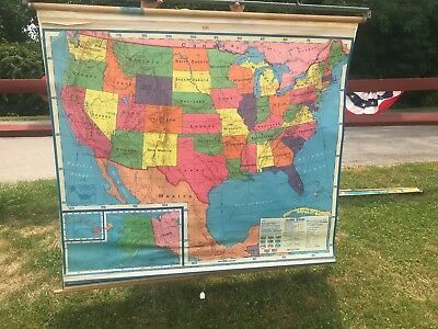 Vintage A.J. Nystrom NS1 NS98-0  USA & World  PULL-DOWN MAP (J)