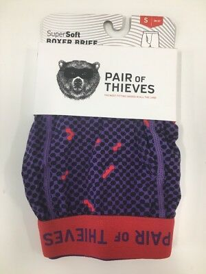 Mens NWT Pair Of Thieves Boxer Briefs Small 28-30 Black Purple Red