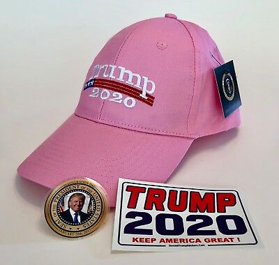 President Trump 2020 .MAGA...Cap... Make America Great Again...  Pink + 2 Decals