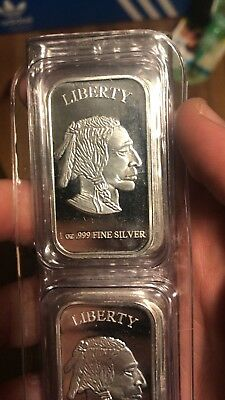 Troy Old Liberty Buffalo Indian Head Art Bar .999 Fine Silver Bar 1oz.999