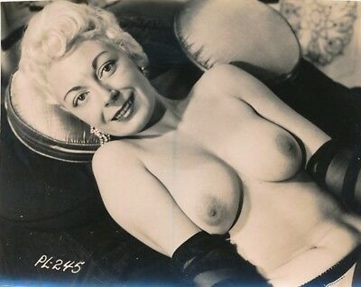 1950s Original Nude Photo Super Buxom Glamorous Blonde Earrings