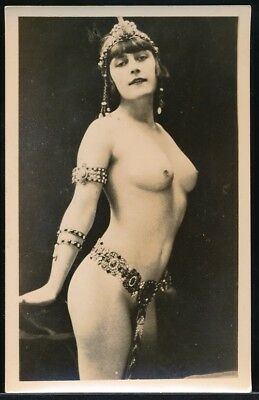 1920s Original Nude Real Photo Postcard Sample Buxom Flapper Exotic Costume RPPC