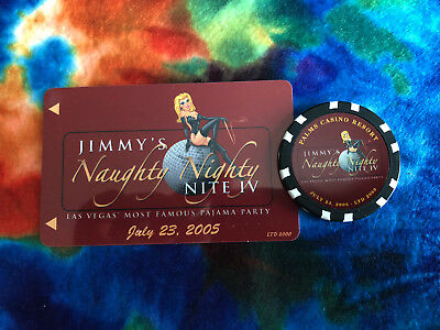 Palms Hotel & Casino Jimmy's Naughty Nite IV 2005 Ltd Edition Room Key & Chip