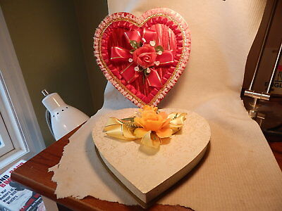 Two Vtg 1950S 60S Heart Shaped Valentines Day Candy Boxes Oaks Oshkosh Wisconsin