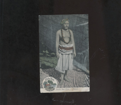 old Hawaii postcard, Aloha Nui South Sea Chief, HI native