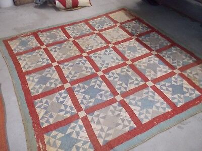 Antique Old Calico Fabrics Estate Early Handmade Quilt