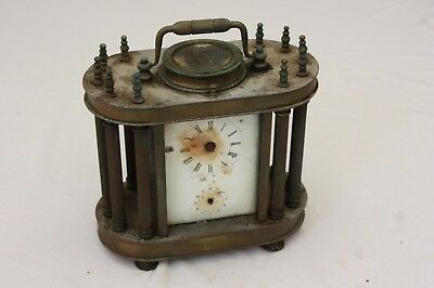 Antique Vintage Brass Mantel Clock with Columns & Glass Panels