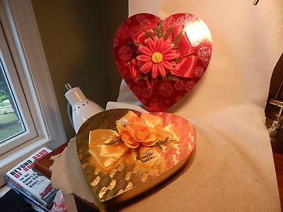 Two Vtg 1960S Heart Shaped Valentines Day Candy Boxes Oaks Oshkosh Yellow Red
