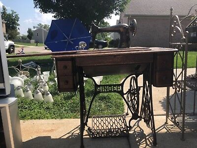antique sewing maching desk - wood