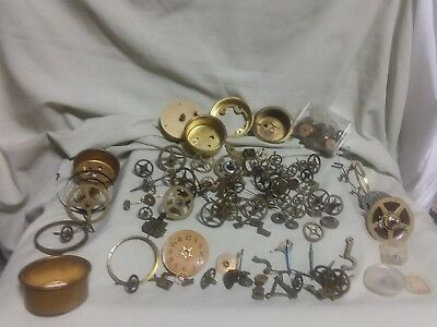 Vtg Clock Gears Wheels Cases Lot for Repair Replacement Steampunk Altered Art