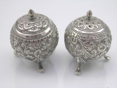 Antique late 19th century Indian Kutch Silver pair of pepper pots cellars