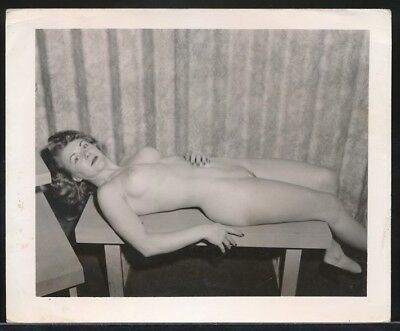 1950s Original 4 x 5 Nude Photo Super Buxom Mature Redhead on Table