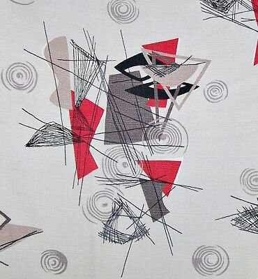 "50 Mid Century Atomic Vintage Bark cloth Barkcloth Fabric Gray Red 46"" x 3 yards"